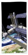 Space Station In Orbit Around Earth Beach Towel
