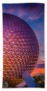 Spaceship Earth Glow Beach Towel
