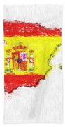 Spain Painted Flag Map Beach Towel
