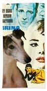 Spanish Galgo Art - Sabrina Movie Poster Beach Towel