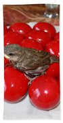Sparrow On Red Eggs Beach Towel