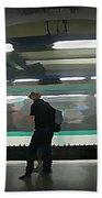 Speeding Subway Train Beach Towel