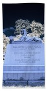 Sphinx Profile Near Infrared Blue And White Beach Towel