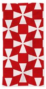 Spice Twirl- Red And White Pattern Beach Towel by Linda Woods