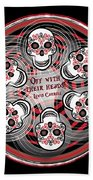 Spinning Celtic Skulls Beach Towel