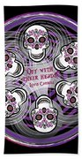 Spinning Celtic Skulls In Purple Beach Towel