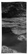 Spinning Leaves Bw Beach Towel
