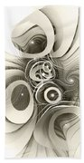 Spiral Mania 2 - Black And White Beach Towel