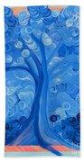 Spiral Tree Winter Blue Beach Towel