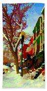Splendor And Colors Of Quebec Winters Verdun Montreal Urban Street Scene Carole Spandau Beach Towel