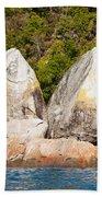 Split Apple Rock Near Abel Tasman Np In New Zealand Beach Towel