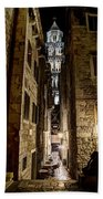 Split Cathedral From The Temple Of Jupiter At Night Croatia Beach Towel