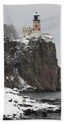 Split Rock Lighthouse Winter 19 Beach Towel