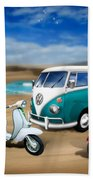 Splitty Vw Beetle And Scooters Beach Towel
