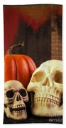 Spooky Halloween Skulls Beach Towel by Edward Fielding