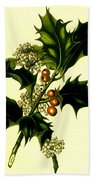 Sprig Of Holly With Berries And Flowers Vintage Poster Beach Towel