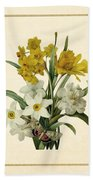Spring Bouquet Of Daffodils And Narcissus With Butterfly Vertical Beach Towel