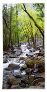 Spring Cascade Of Water From Bridal Veil Falls In Yosemite Np-2013 Beach Towel