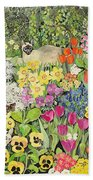 Spring Cats Beach Towel by Hilary Jones