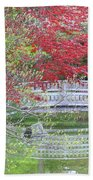 Spring Color Over Japanese Garden Bridge Beach Towel