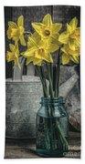 Spring Daffodil Flowers Beach Towel by Edward Fielding
