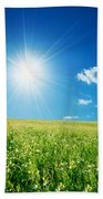 Spring Field With Flowers And Blue Sky Beach Towel