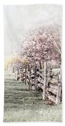 Spring Landscape With Fence Beach Towel
