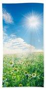 Spring Meadow Under Sunny Blue Sky Beach Towel
