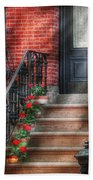 Spring - Porch - Hoboken Nj - Geraniums On Stairs Beach Towel