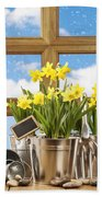 Spring Window Beach Towel by Amanda Elwell