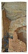 Square Tower House Closeup On Chapin Mesa Top Loop Road In Mesa Verde National Park-colorado Beach Towel