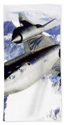 Sr-71 Over Snow Capped Mountains Beach Towel