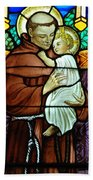 St Anthony In Stained Glass Beach Towel