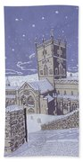 St David S Cathedral In The Snow Beach Towel by Huw S Parsons