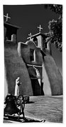 St Francis In Black And White Beach Towel