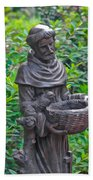 St Francis Of Assisi Garden Statute Beach Towel