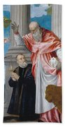 St. Jerome And A Donor Beach Towel