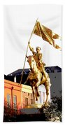 St Joan Of Arc Statue At Dawn Beach Towel