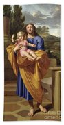 St. Joseph Carrying The Infant Jesus Beach Sheet
