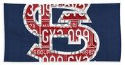 St. Louis Cardinals Baseball Vintage Logo License Plate Art Beach Towel