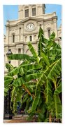 St. Louis Cathedral And Banana Trees New Orleans Beach Towel