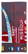 St. Louis Skyline License Plate Art Beach Towel