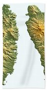 St Lucia And Dominica Map Beach Towel