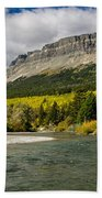 St. Mary River And East Flattop Mountain Beach Towel
