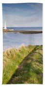 St Marys Lighthouse From Cliff Top Beach Towel