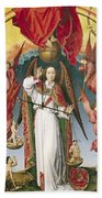 St. Michael Weighing The Souls, From The Last Judgement, C.1445-50 Oil On Panel Detail Of 170072 Beach Towel