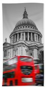 St Pauls Cathedral In London Uk Red Buses In Motion Beach Sheet