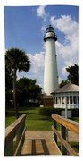 St. Simon's Island Georgia Lighthouse Painted Beach Towel