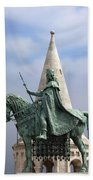 St Stephen's Statue In Budapest Beach Towel