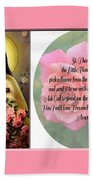 St. Theresa Prayer With Pink Border Beach Towel